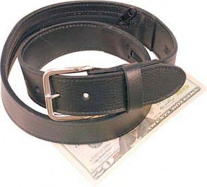 Wide Black Leather Money Belt BT112MBZ