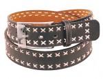 X Stitch Black Leather Belt BT014XK