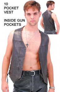 10 Pocket Dark Brown Leather Vest with Gun Pockets VM631LN