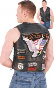 All Patched Up Leather Motorcycle Vest VM14PP