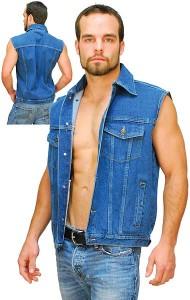 Blue Denim Mens Sleeveless Denim Jacket T120U