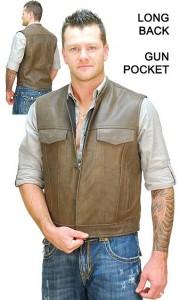 Brown Leather Biker's Sleeveless Jacket Vest VM1014N