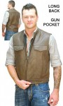 Brown Leather Biker's Sleeveless Jacket Vest VM1014N
