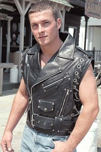 Chromed Out Leather Motorcycle Vest with Chains VM2001MCC
