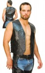 Classic Patch Leather Side Lace Biker Vest VM718LPK