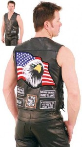 Eagle Flag Patch Leather Vest with Gun Pockets VM1238EFP