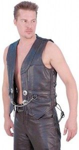 Heavy Leather Motorcycle Vest with Chain VM616CC