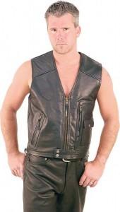 Jamin' Premium Zip Up Leather Motorcycle Vest VM9025ZK