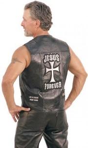 Jesus Forever Patched Leather Vest VM715JCK