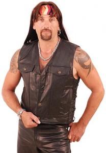 Leather Vest with Gun Pocket Holster VM825L