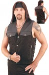 Lightweight Nylon and Leather Motorcycle Vest VMC616L