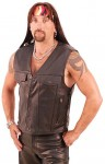 Long Leather Vest - Denim Style VM2601L