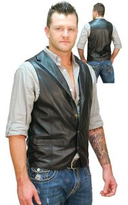 Men's Black Leather Lambskin Western Vest VM11012K