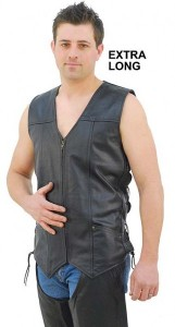 Mens Big and Tall Leather Vest with Side Lace VM1374ZL