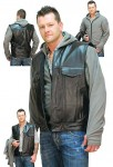 Mens Combo Fleece Hoodie and Leather Vest M1016GHK