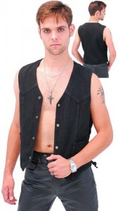 Side Lace Black Denim Vest VMC1315LK