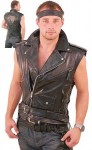 Sleeveless Leather Motorcycle Jacket VM30MCK
