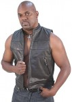 Striped Zip Front Mens Leather Vest VM1366Z