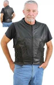 Triple Side Strap Leather Vest - Great for Clubs VM7001Z