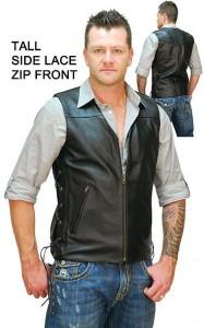 Triple Zip Long Leather Vest for Men VM1370ZL