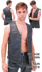 Vintage Brown Leather Vest with Gun Pockets VM2638LN