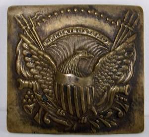 1860s CIVIL WAR BRASS BELT BUCKLE - EAGLE SHIELD, CANNONS, 13 STARS