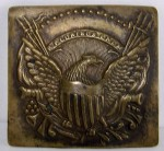 1860s CIVIL WAR BRASS BELT BUCKLE - EAGLE SHIELD, CANNONS, 13 STARS