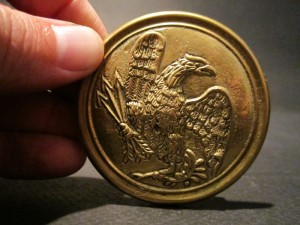 19th C Antique Style Civil War Belt Buckle Plate SOLID Brass American Eagle