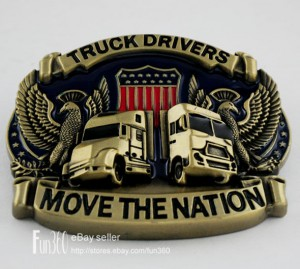 3D Jeep TRUCK DRIVERS MOVE THE NATION Flag Wild Eagle Men's Boy's Belt Buckle