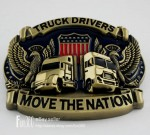 3D Jeep TRUCK DRIVERS MOVE THE NATION Flag Wild Eagle Men's Boy's Belt Buckle