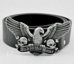 American Eagle Skull MOTORCYCLE BIKER ANIMAL Pewter Buckle Genuine Leather Belt