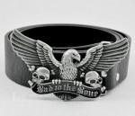 American Eagle Skull MOTORCYCLE BIKER ANIMAL Pewter Buckle Genuine Leather Belt