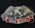 BORN TO RIDE pewter enamel belt buckle bike biker eagle FREE black snap belt