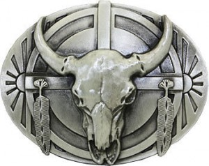 BULL SKULL and FEATHERS BELT BUCKLE Indian Native American western Eagle