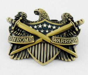 Chrome Warrior Eagle Shield & Dueling Swords Motorcycle Mens Boys Belt Buckle