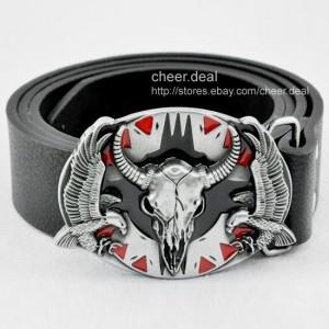 India Western Fierce Flying Eagle Ox Cow Bull Skull Head Buckle Leather Belt Men