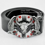India Western Fierce Flying Eagle Ox Cow Bull Skull Head Buckle Leather Belt Men