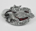 Mens Boys LIVE TO RIDE/RIDE TO LIVE,THE BIKERS MOTO Gray Eagle Bird BELT BUCKLE