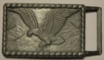 VINTAGE SILVER TONE SPREAD WINGED LANDING EAGLE RECTANGULAR BELT BUCKLE UNISEX