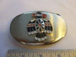 Vintage Nickel Silver Belt Buckle with American Indian Bird Eagle 1053