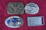 LOT OF 4 U.S. MARINE VETERAN AMERICAN EAGLE VINTAGE BELT BUCKLES COLLECTIBLES