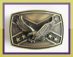 SILVER CONFEDERATE GOLD ANTIQUE REBEL REDNECK EAGLE FLAG BELT BUCKLE