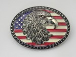 <034> New American Flag with Eagle Head Metal Belt Buckle