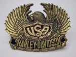 1983 OFFICIALLY LICENSED BRASS HARLEY DAVIDSON MOTORCYCLES EAGLE USA BELT BUCKLE
