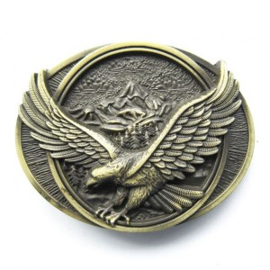 Bald Eagle Wing Span USA Belt Buckle Antique Brass