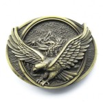 Bald Eagle Wing Span USA Belt Buckle Antique Brass