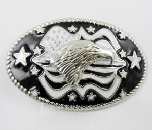 Boy's /Men's America Flag Stars Bald Eagle Western Metal Belt Buckle