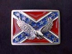 CSA CONFEDERATE STATES FLAG BELT BUCKLE WITH EAGLE #112