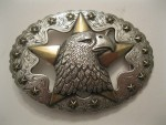 Cowboy Western Belt Buckle #1758 - Eagle Star - Silver & Gold Plated