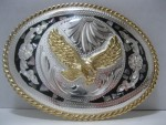 Cowboy Western Belt Buckle #810 - Abalon German Silver Eagle
